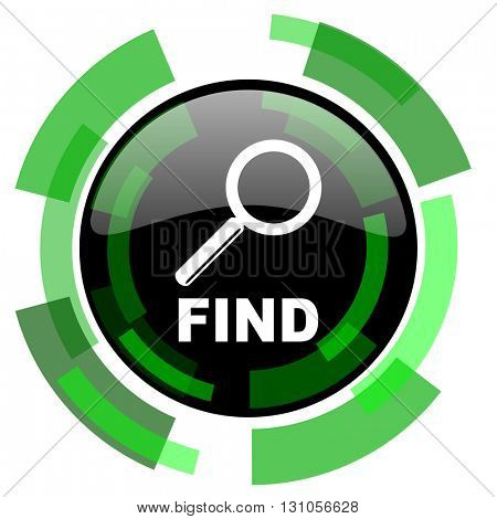 find icon, green modern design glossy round button, web and mobile app design illustration