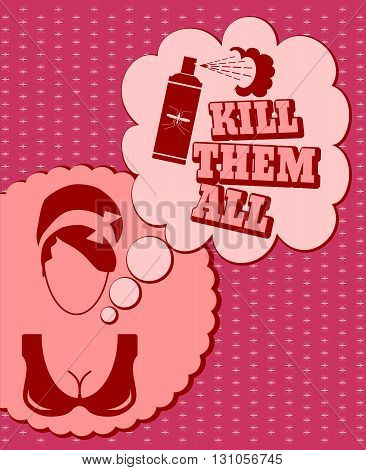 Woman face icon with thinking cloud. Kill them all message. Anti mosquito spray bottle icon