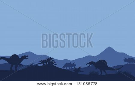 Silhouette in fields spinosaurus with blue backgrounds