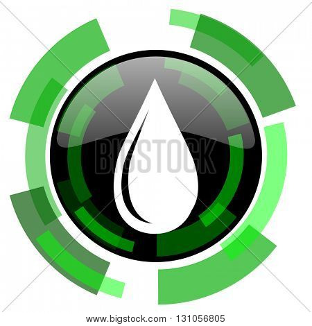 water drop icon, green modern design glossy round button, web and mobile app design illustration