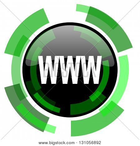 www icon, green modern design glossy round button, web and mobile app design illustration