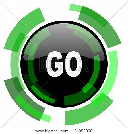 go icon, green modern design glossy round button, web and mobile app design illustration