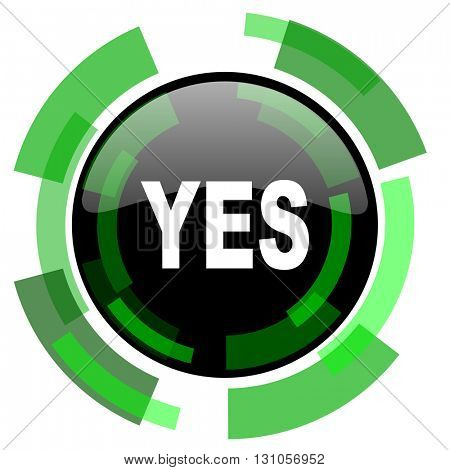 yes icon, green modern design glossy round button, web and mobile app design illustration