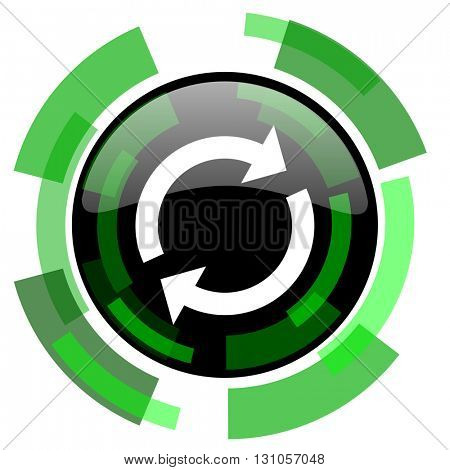 reload icon, green modern design glossy round button, web and mobile app design illustration