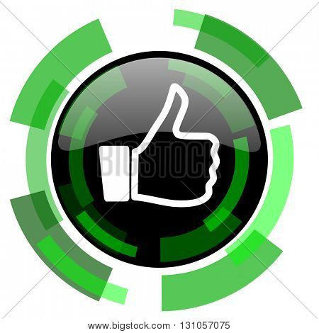 like icon, green modern design glossy round button, web and mobile app design illustration