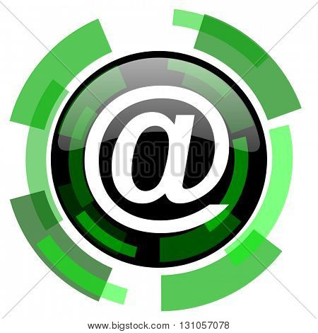 email icon, green modern design glossy round button, web and mobile app design illustration
