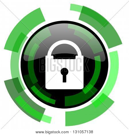padlock icon, green modern design glossy round button, web and mobile app design illustration
