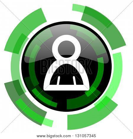 person icon, green modern design glossy round button, web and mobile app design illustration