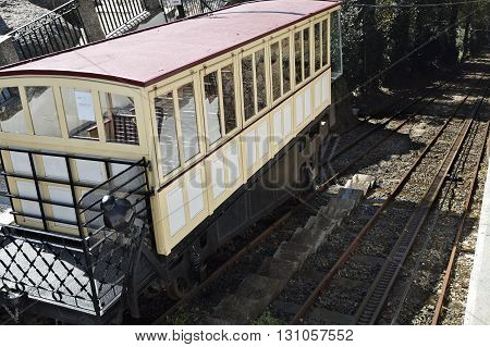 Inaugurated in 1882 the Bom Jesus do Monte Funicular in Braga Portugal is the oldest funicular in the world moved by water counterbalancing.