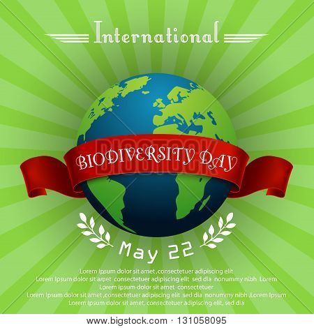 Vector illustration of International Biodiversity Day concept with globe and red ribbon