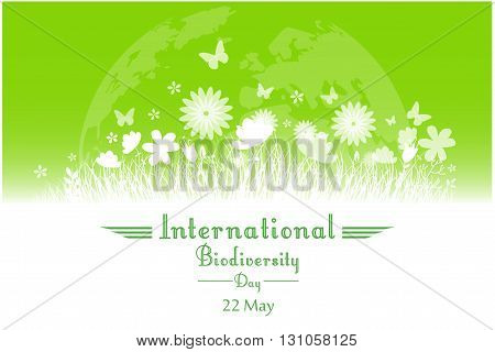 Vector illustration of International Biodiversity Day background with flower, butterflies and grass silhouette