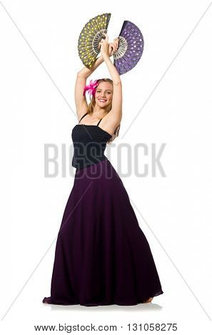 Woman with fan dancing dances isolated on white