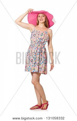 Girl in summer light dress and hat isolated on white