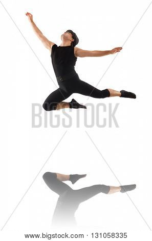 Young dancer isolated on the white, motion