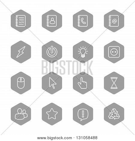 line web icon set on gray hexagon for web design user interface (UI) infographic and mobile application (apps)