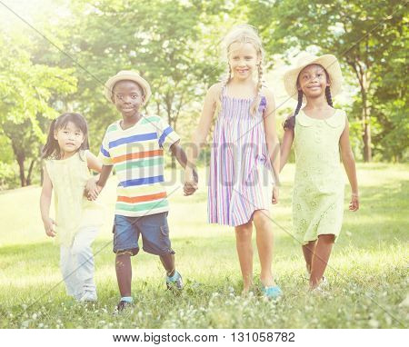 Children In The Park Communication Concept