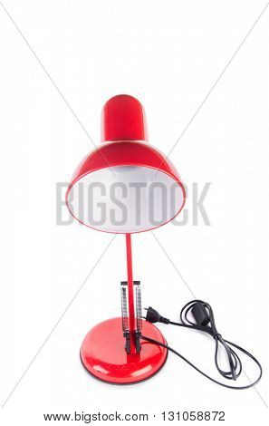 Red table top adjustable lamp isolated on white