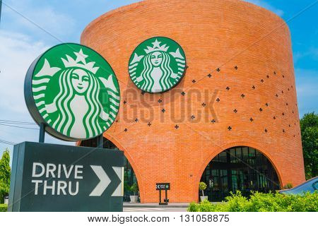 Bangkok Province, Thailand - May 09, 2016 : Starbucks drive thru sign at 200th store at FastFac Mini Factory one of the fastest growing industrial