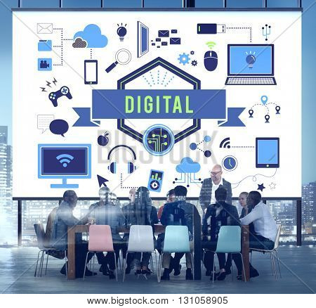 Digital Technology Connection Media Information Concept