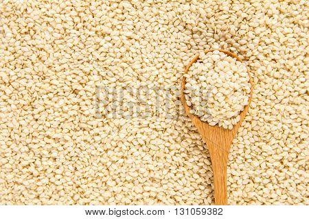 close up sesame in wooden spoon on the white sesame seeds surface texture background