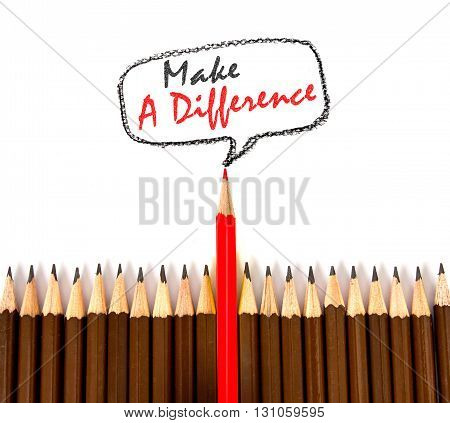 the red wooden pencil arrange with make a difference concept