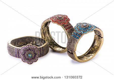 Jewellery bracelets isolated on white