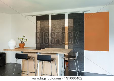 Interior of a studio apartment, hob of kitchen