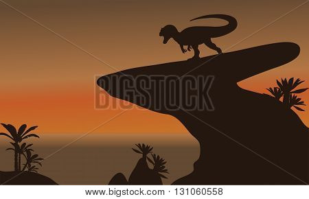 Silhouette of one allosaurus in cliff at the afternoon
