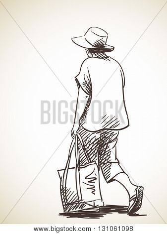 Sketch of woman walking with bag, Hand drawn illustration