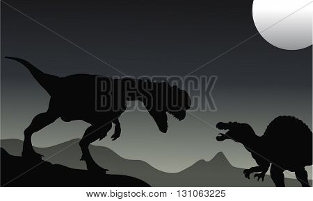 Silhouette of Spinosaurus and dilophosaurus at the night