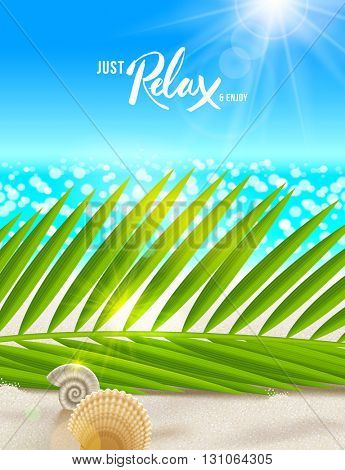 Summer vacation vector illustration. Tranquil and relax beach scene with palm tree branches, shells and sea horizon. Design for greeting card, poster, invitation, booklet or  brochure.