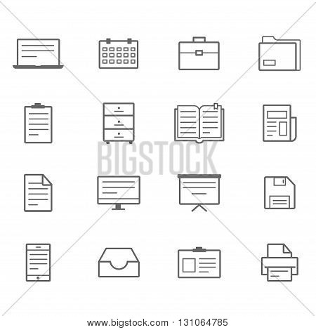Office icons line icons gray set of 16
