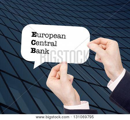 ECB written in a speechbubble