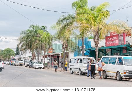 KIRKWOOD SOUTH AFRICA - MARCH 7 2016: A street scene in Kirkwood a small town on the banks of the Sundays River in the Eastern Cape Province
