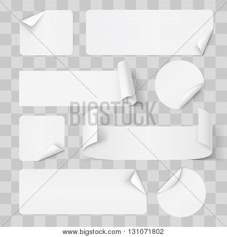 Big Set of White Paper Stickers on Transperent Background