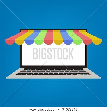 Computer laptop with awning on blue background. Vector illustration business online shopping concept flat design.