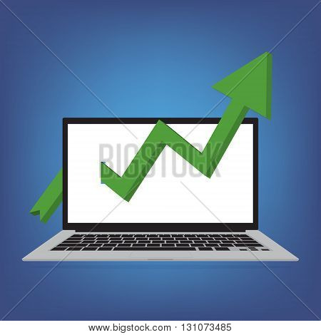 Laptop with green arrows tending arrow upwards on blue background. Vector illustration of stock trading business finance concept design.