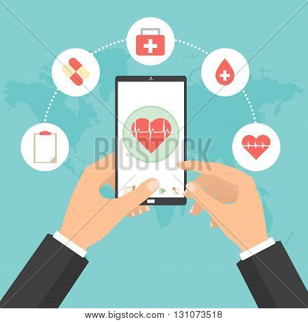 Business man hands point to smart phone tablet screen for health check concept of telemedicine technology. Vector illustration internet of things technology trend.