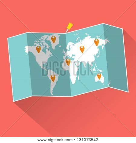 Pins of vacation trip on world map with long shadow. Vector illustration traveling concept.