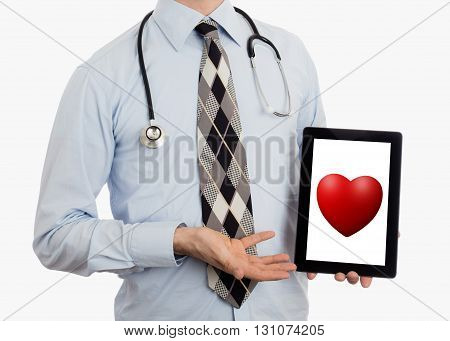 Doctor Holding Tablet - Red Heart