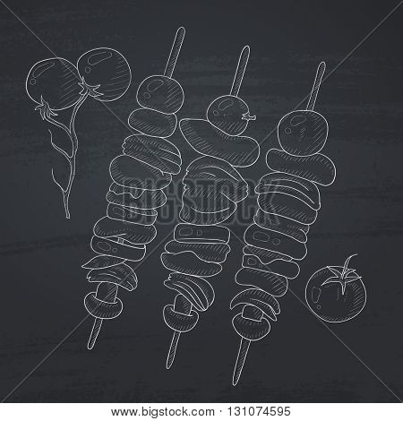 Shish kebabs on skewers. Shish kebabs hand drawn in chalk on a blackboard. Shish kebabs vector sketch illustration.