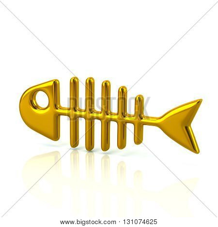 3d illustration of golden fishbone isolated on white background