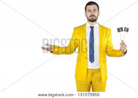 Businessman Holding Money Symbol In His Hand And Wearing Gold Suit