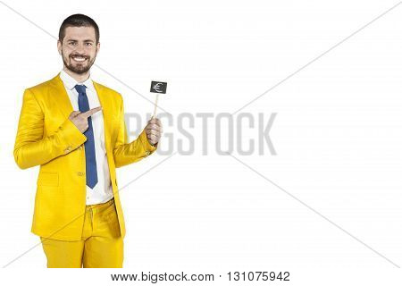 Businessman Pointing To The Euro As A Good Investment