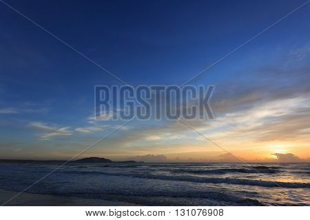 Sunset Dramatic Sky With Colorful Cloud On Sea, Summer Background