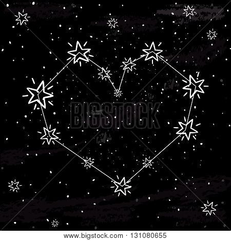 Starlit heart on the dark night sky with stars. Vector background for valentine's card, love poster and wedding, greeting, invitation cards.Constellation in the form of heart.
