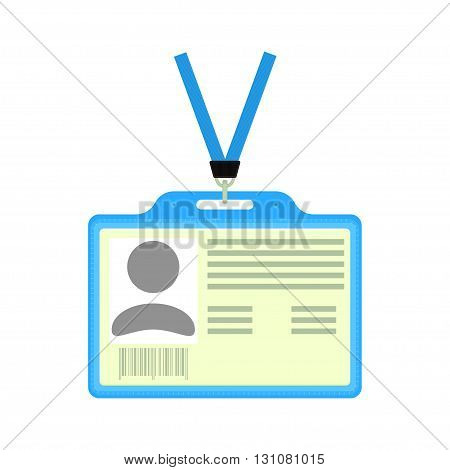 Vector plastic ID badge. Vector badge holder with identification card. Isolated on white.