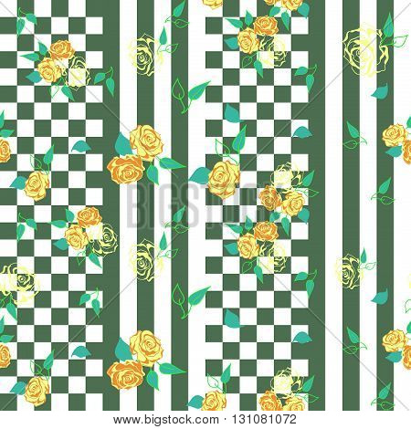 checkerboard  seamless pattern with bright floral roses ornament