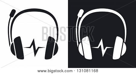 Vector headphones with microphone and sound wave icon. Two-tone version on black and white background