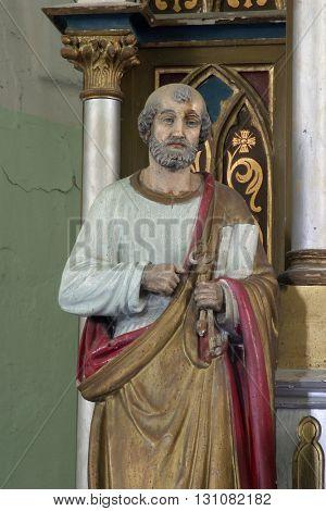 SVETI MARTIN POD OKICEM, CROATIA - MAY 18: Statue of Apostle Saint Peter on the altar of the Virgin Mary in the church of Saint Martin in Sv. Martin pod Okicem, Croatia on May 18, 2005.